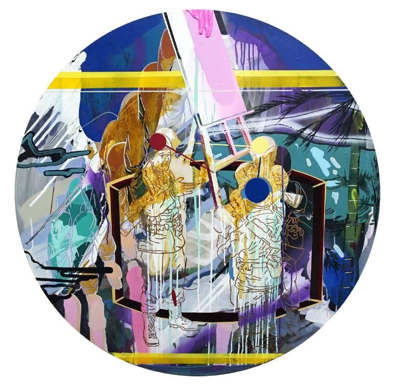謝牧岐, 繪畫行為006-三原色, 120x120cm(圓盤), 2017
