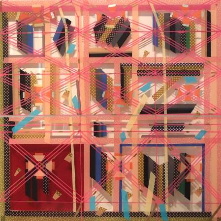 吳芊頤《新竹窗景詩-銀樓》,2016,和紙PE、壓克力板、油漆,60 x 60 cm