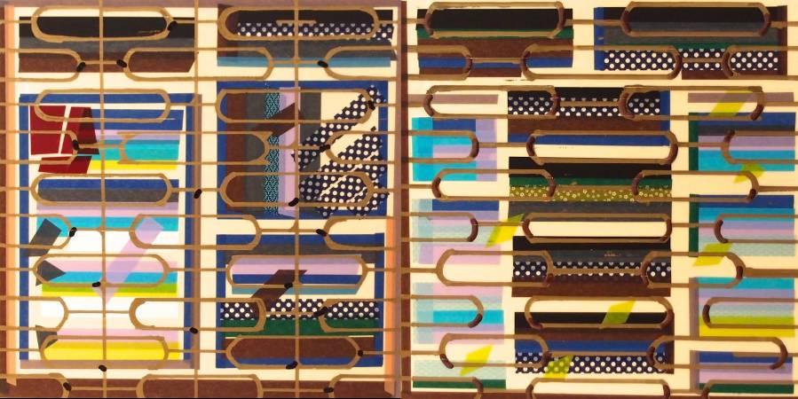 吳芊頤《新竹窗景詩-梅桂鮮花店》,2016,和紙PE、壓克力板、油漆,30 x 30 cm x 2