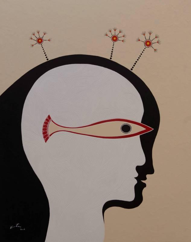 伊誕・巴瓦瓦隆-我的世界我的歌-2016-木板、版畫顏料、壓克力顏料-145x115x5cm