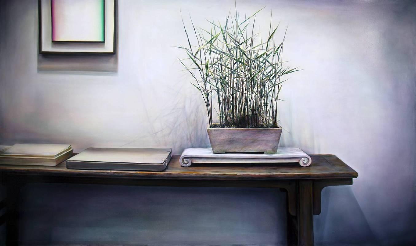 黃敏俊(HUANG Mingchun),靜竹浮光(A glimmer of Bamboo),160x260cm,2017, 油彩、畫布(Oil on Canvas)。
