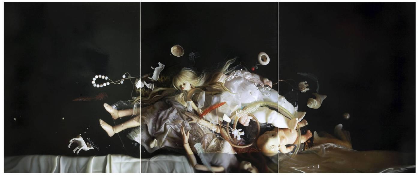 陳穎(CHEN Ying), 維納斯的誕生(The Birth of Venus), 150x360cm (三聯畫 Triptych) , 2017, 油彩、畫布 (Oil on Canvas)。
