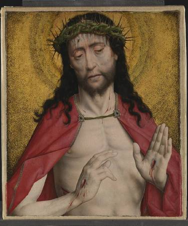 NG1083 Dirk Bouts  Christ Crowned with Thorns  About 1470 Oil with egg tempera on canvas backed into board, transferred from wood  43.8 x 37.1 cm  National Gallery, London © The National Gallery, London