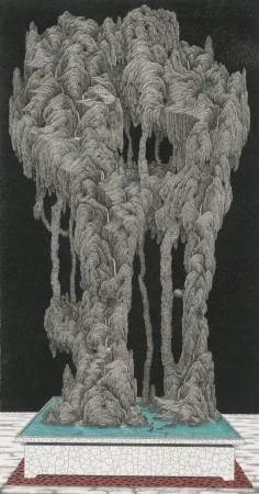 鄧卜君-明空石-238x126cm-紙上水墨-2017