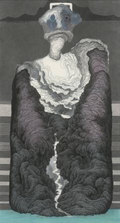 鄧卜君-哲學家的寬度數-142x77cm-紙上水墨-2017