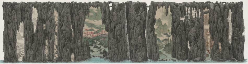鄧卜君-磐石異四季-63x239cm-紙上水墨-2017