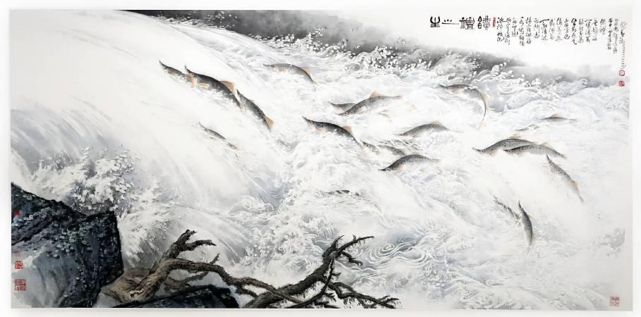 林章湖,生之禮讚,紙本設色,248x122cm,2016年。圖/非池中藝術網攝。