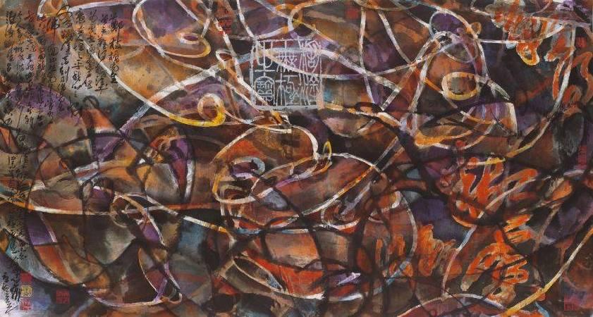 林章湖,糊塗無極,水墨設色,180x96cm,2016年。圖/宏藝術提供。