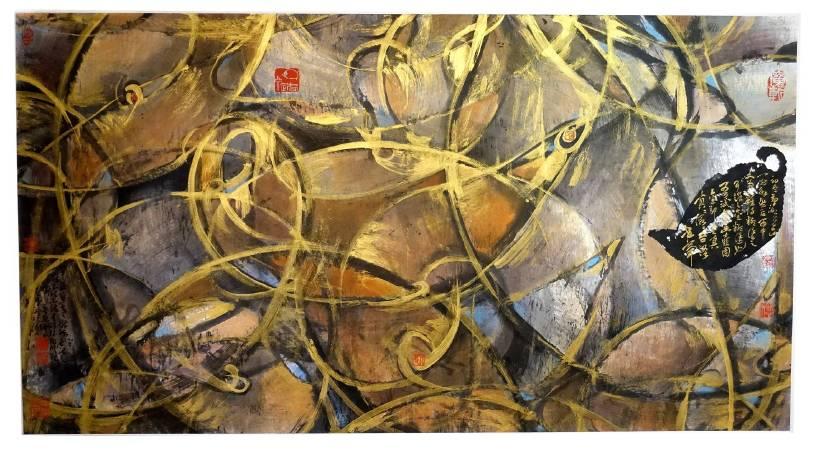 林章湖,金糊塗,水墨設色,180x96cm,2016年。圖/非池中藝術網攝。