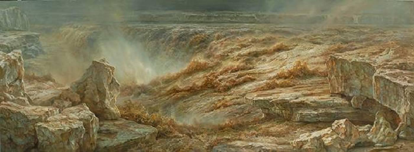 林建《春之汛》油畫  95 × 235 cm