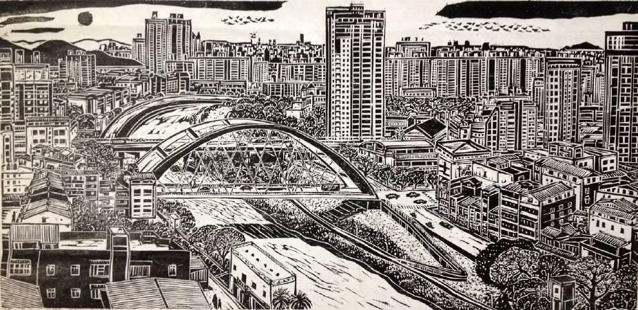 景美河上的圓拱橋(局部4) 45x362cm 2017