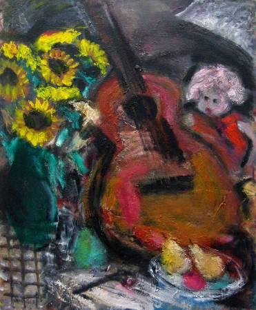 張萬傳 吉他與花 60.5x.50cm(12F) 油彩畫布 / CHANG Wan-Chuan Guitar and flower 60.5x.50cm(12F) Oil on canvas