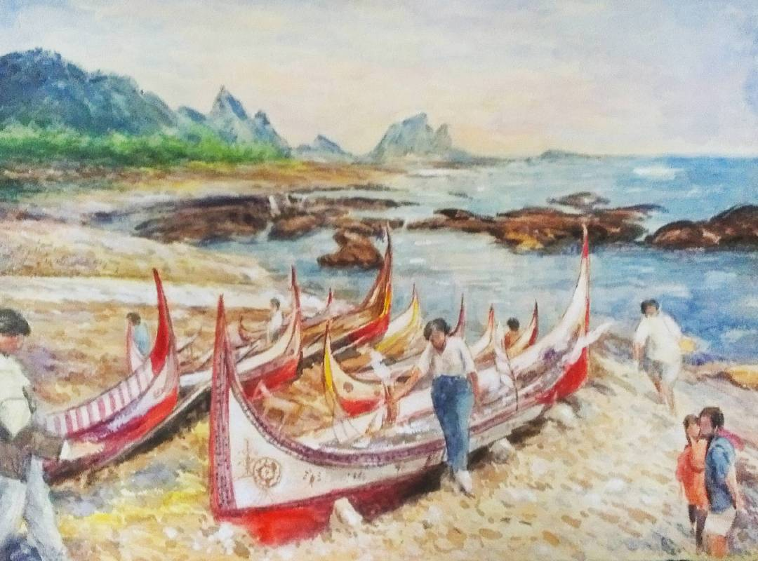林有德 蘭嶼風光 1991年 74.5x54cm 水彩紙本 / LIN You-The Lanyu scenery 1991 74.5x54cm Watercolor on paper