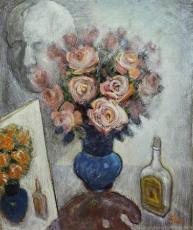 林顯模 玫瑰的故事 1992年 60.8x50.5(12F) 油彩畫布 / LIN Sien-Mo The Story of Roses 1992 60.8x50.5(12F) Oil on canvas
