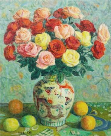 李石樵 玫瑰花(2) 1989年 60.5x50cm(12F) 油彩畫布 / LEE Shih-Chiaou Roses No.2 1989 60.5x50cm(12F) Oil on canvas