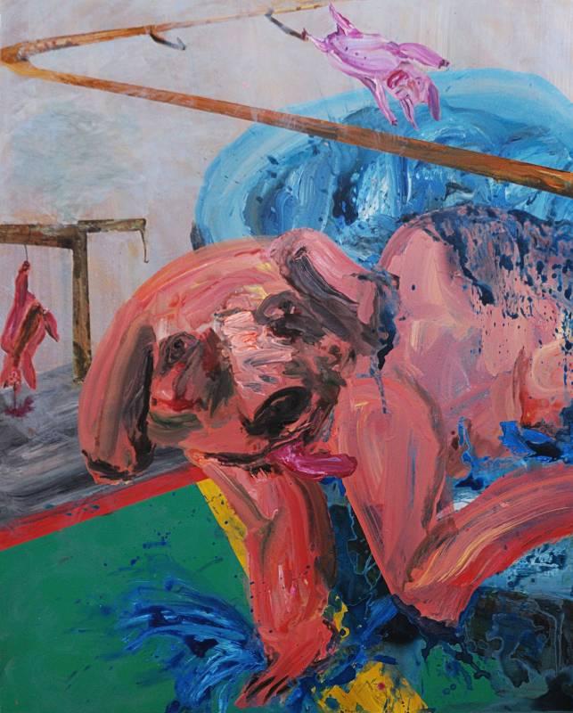 蔡瑞恒《工廠變種》,2017,壓克力顏料、畫布,130 x 163 cm