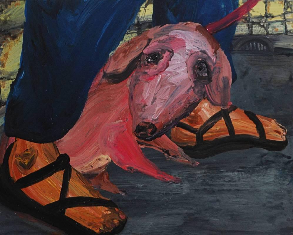 蔡瑞恒《再也不想前進一步了! 》,2017,壓克力顏料、畫布,91 × 72.5 cm