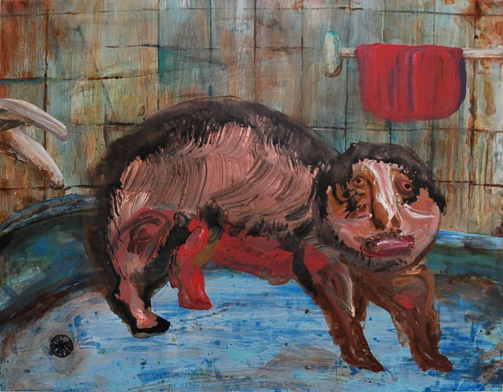 蔡瑞恒《浴缸怪獸》,2017,壓克力顏料、畫布,116.5 × 91 cm
