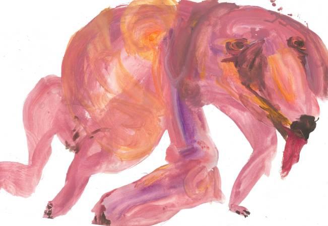 蔡瑞恒《壞狗狗》,2017,壓克力顏料、日本水彩紙,77 x 54.5 cm