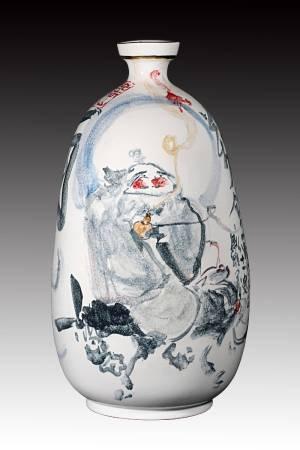 戚維義  《酒仙圖》 2017  22x22x47cm  瓷土、彩繪