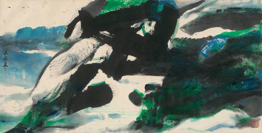 文霽-碧綠137x70cm-2007-彩墨-紙