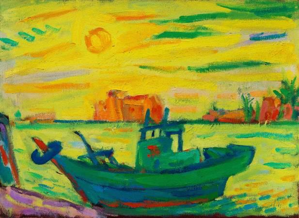 張炳堂 漁船晚霞 24×33cm 油彩畫布