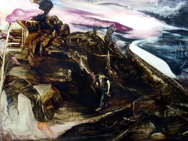 傅饒 《酒屋》 Biergarten  2017 油彩紙本裱於畫布 Oil on paper framed in canvas 175 x 240 cm