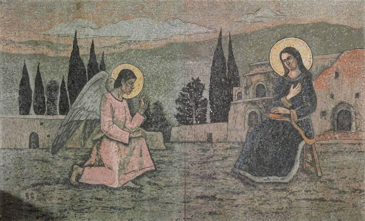 陳景容《耶穌誕生-報喜》。圖/取自陳景容數位美術館。