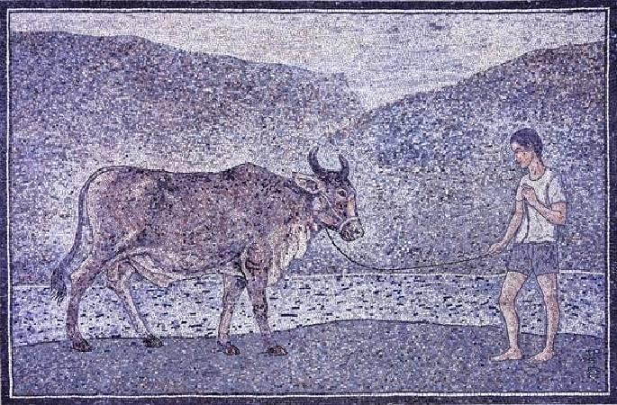 陳景容《牧童與牛》。圖/取自陳景容數位美術館。