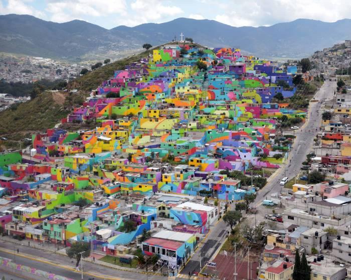 創作彩虹家園  墨西哥最大的街頭壁畫