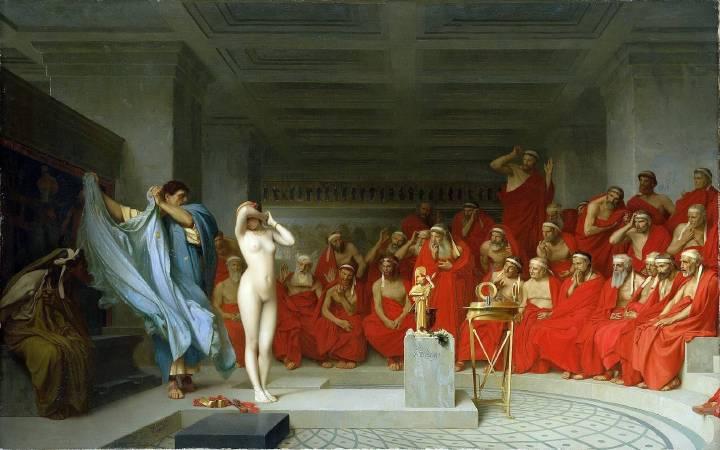 熱羅姆(Jean-Léon Gérôme)《法庭上的芙里尼》(Phryné devant l'aréopage, 1861)
