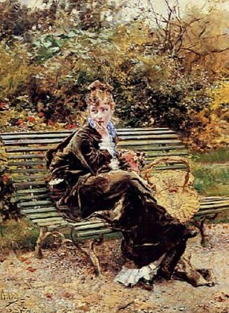 喬瓦尼《布瓦海德公園的長凳上》( Bois, Hyde Park),1872。圖/取自Wikipedia。