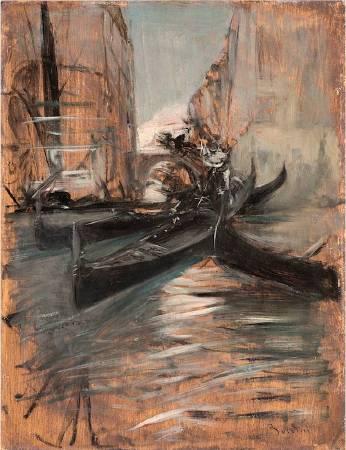 喬瓦尼《Canale a Venezia con gondole》。圖/取自Wikipedia。