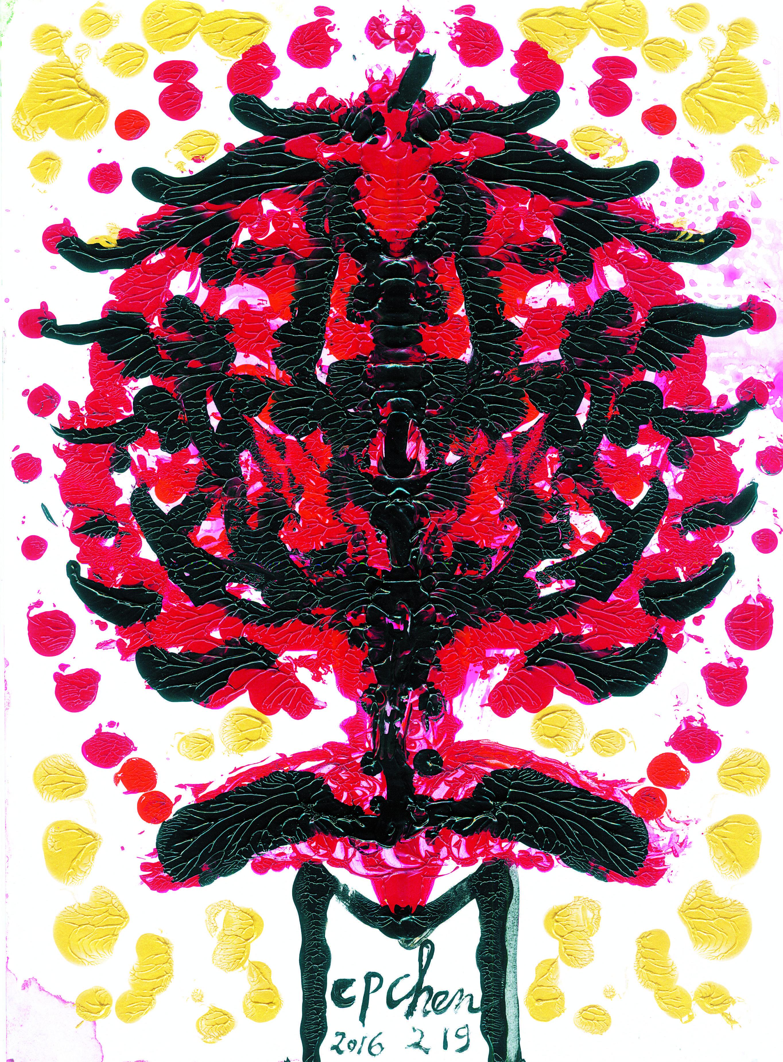 【寧為燒盡,不願銹壞(馬偕博士)】25.5x35cm / B4紙 / 壓克力顏料 /2016年