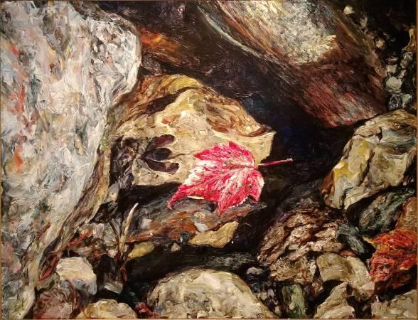 洪天宇 <浮葉> ,2008,壓克力顏料、鋁板,54X41cm