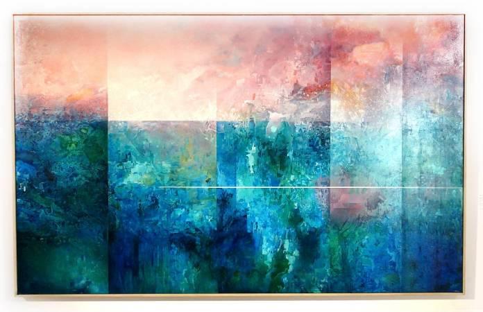 王建文,觀星者系列II-人造冰山,油彩、畫布,2017年。圖/ 非池中藝術網攝