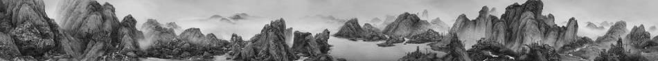 《人造仙境II—太古遺民》Artificial Wonderland II - Taigu Descendants,藝術微噴長卷 Giclee Print on Handscroll,50 × 532 cm,2016