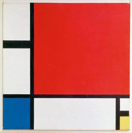 蒙德里安,《紅黃藍的構成》,1930年。圖/取自Wikipedia。