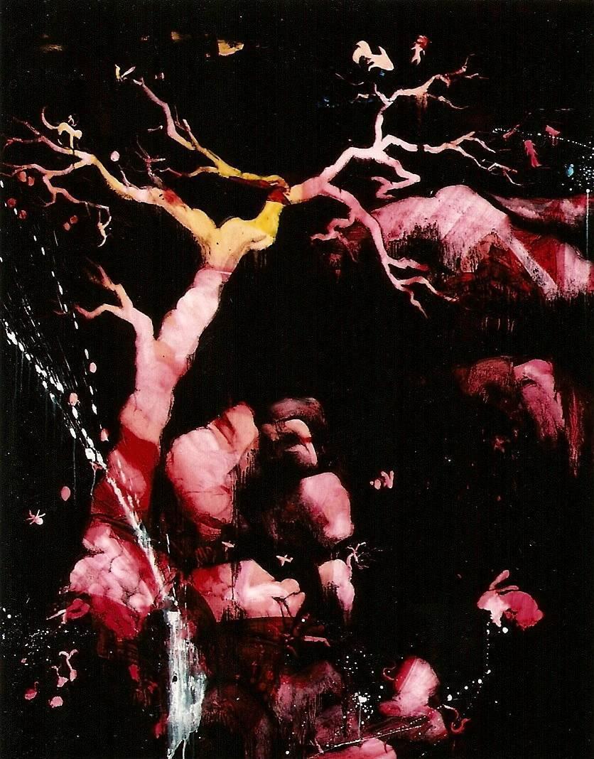 常陵 五花肉系列-肉花鳥-泉水小語圖 2007 油彩 162x120cm