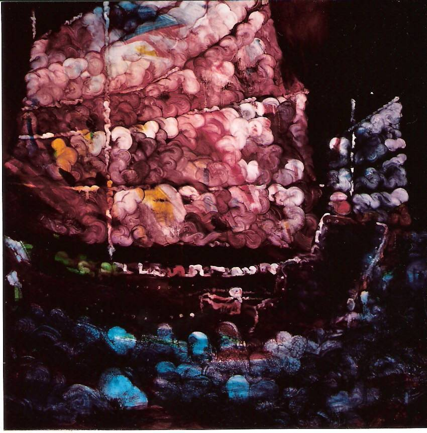 常陵 五花肉系列-肉兵器-戎克船 2005 油彩 130x130cm