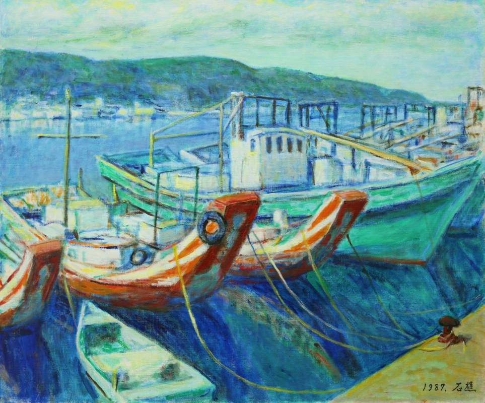 李石樵, 八斗子漁港, 1987年, 72.5x60.5cm, 油彩畫布 / LEE Shih-Chiaou, Badouzi Fishing Port, 1987, Oil on canvas