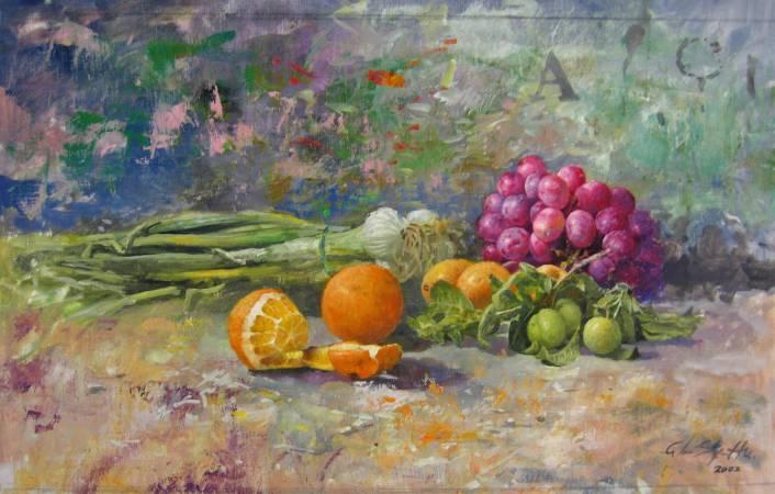 胡文賢,  蔬果, 2002年, 39x65cm, 油彩畫布 / Santos Hu, Vegetables, 2002, Oil on canvas