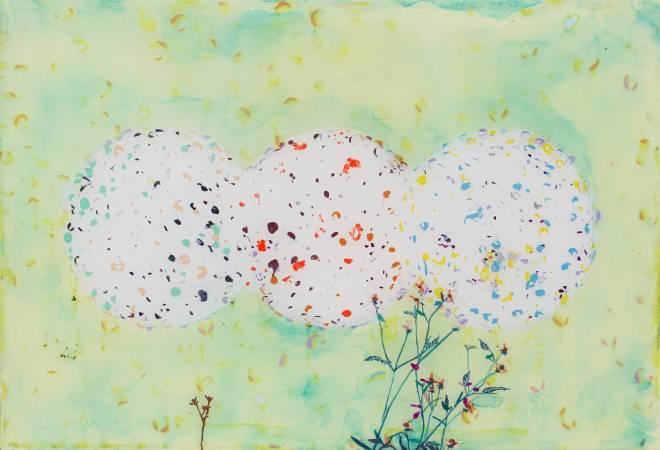 李怡萱, 咸豐草2,  2017年, 35x24cm, 壓克力彩.環氧樹脂.畫布 / LEE Yi-Hsuan, Smallflower Beggarticks I, 2017, Acrylic and epoxy on canvas