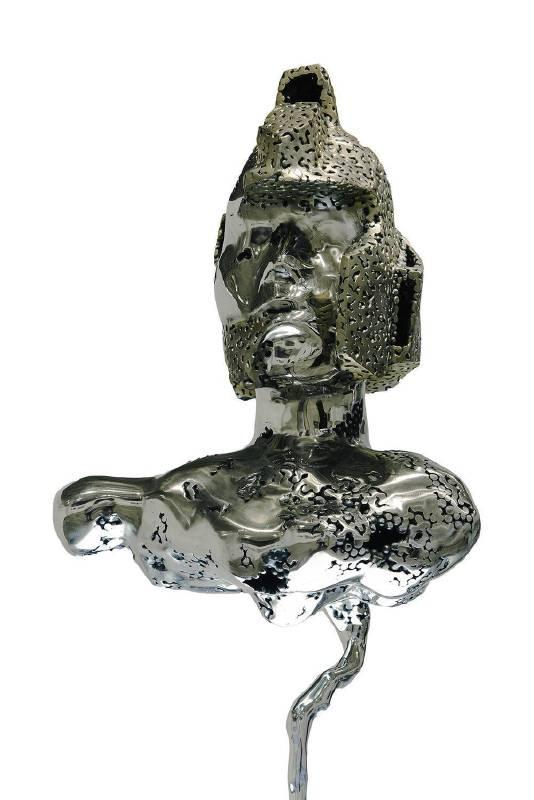 《光學暫態-頭像》,26x34x100cm,鐵珠、不鏽鋼,2017_02