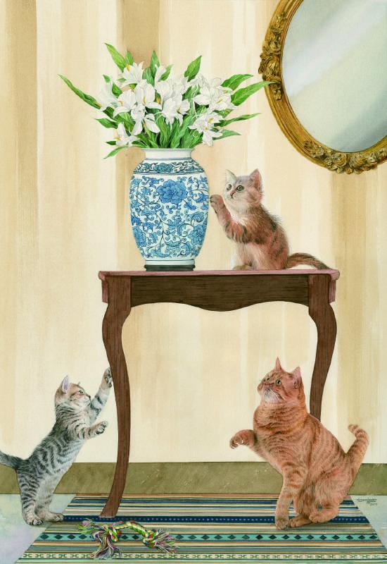 柯鴻圖 《貓的幸福人間》 2017  40×60㎝  版畫紙、透明水彩