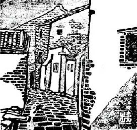 立石鐵臣《鹿港巷道》,出自《民俗臺灣》,1942。圖/取自Wikipedia。