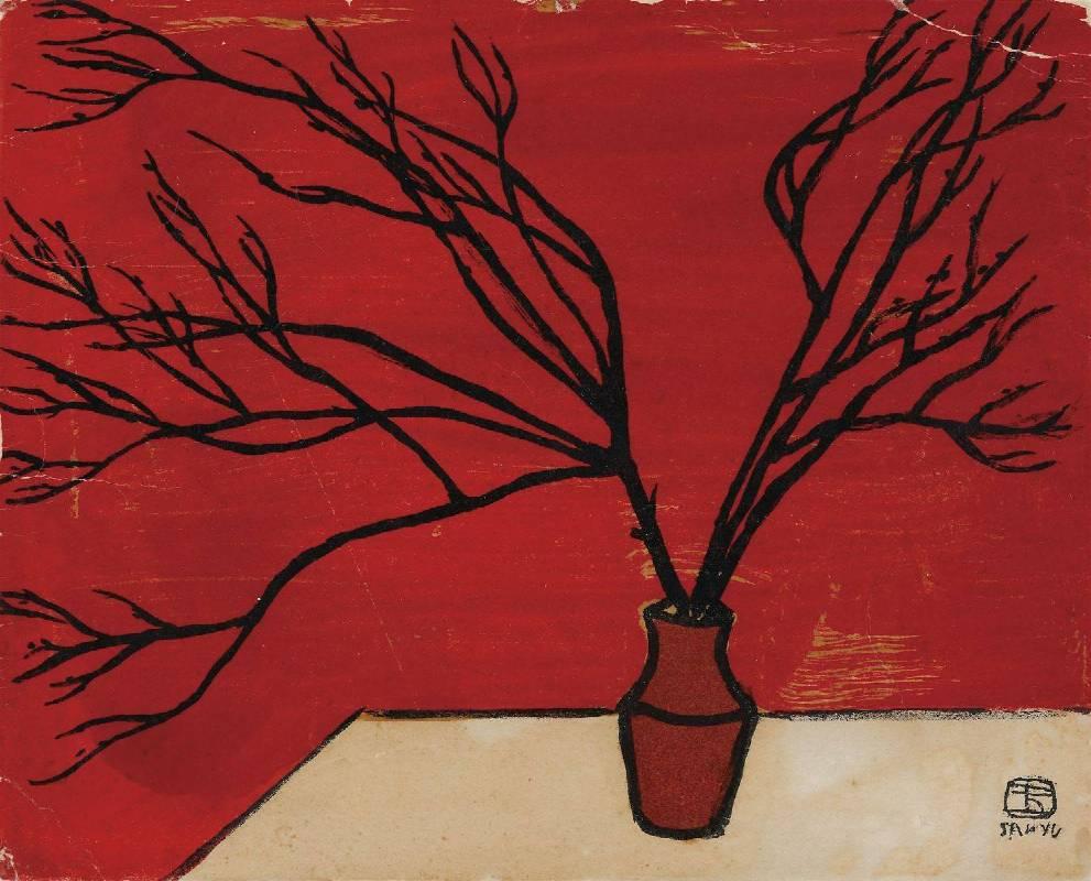 常玉,枯枝,1962,石版、四色/紙本,14.8 x 18.4 cm