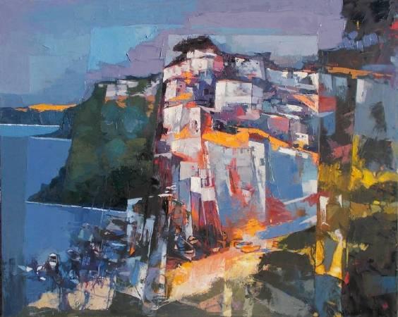 Alex Bertaina《The port of the fishermen》油畫 100×80cm 2017 義大利