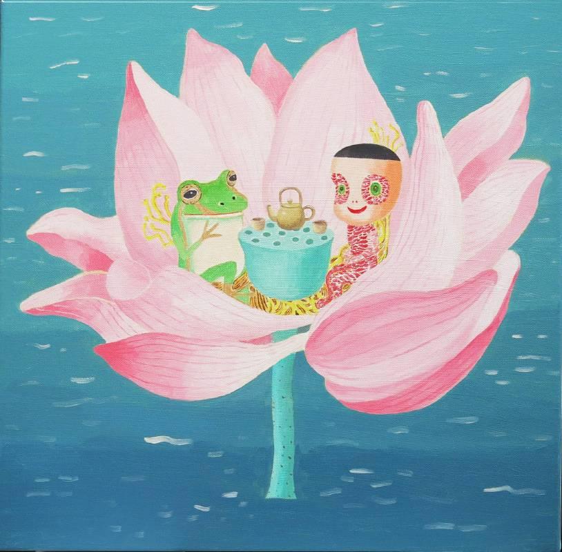 2015與金線蛙的下午茶 40x40cm