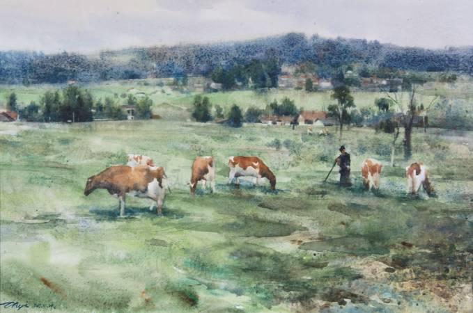 瑞士鄉野/Switzerland rural水彩,紙本(Watercolor on paper297x420綦宗涵